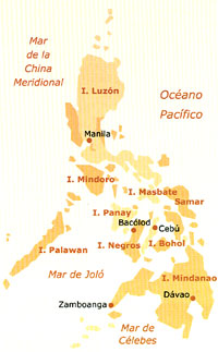 The Philippine islands: Regions evangelised by the Augustinian Recollects.