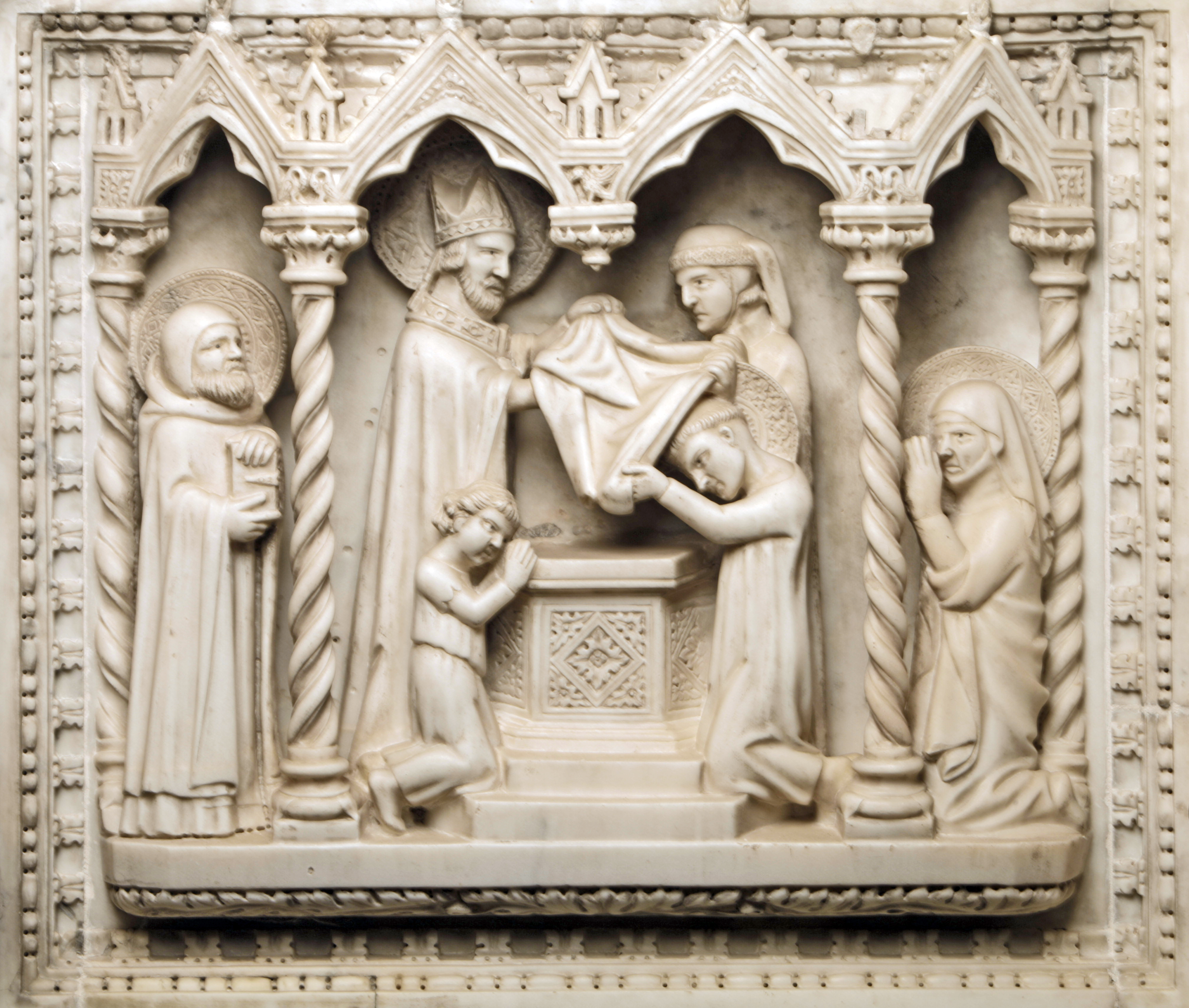 Baptism of Augustine. Tomb of Saint Augustine. Pavia (Italy).