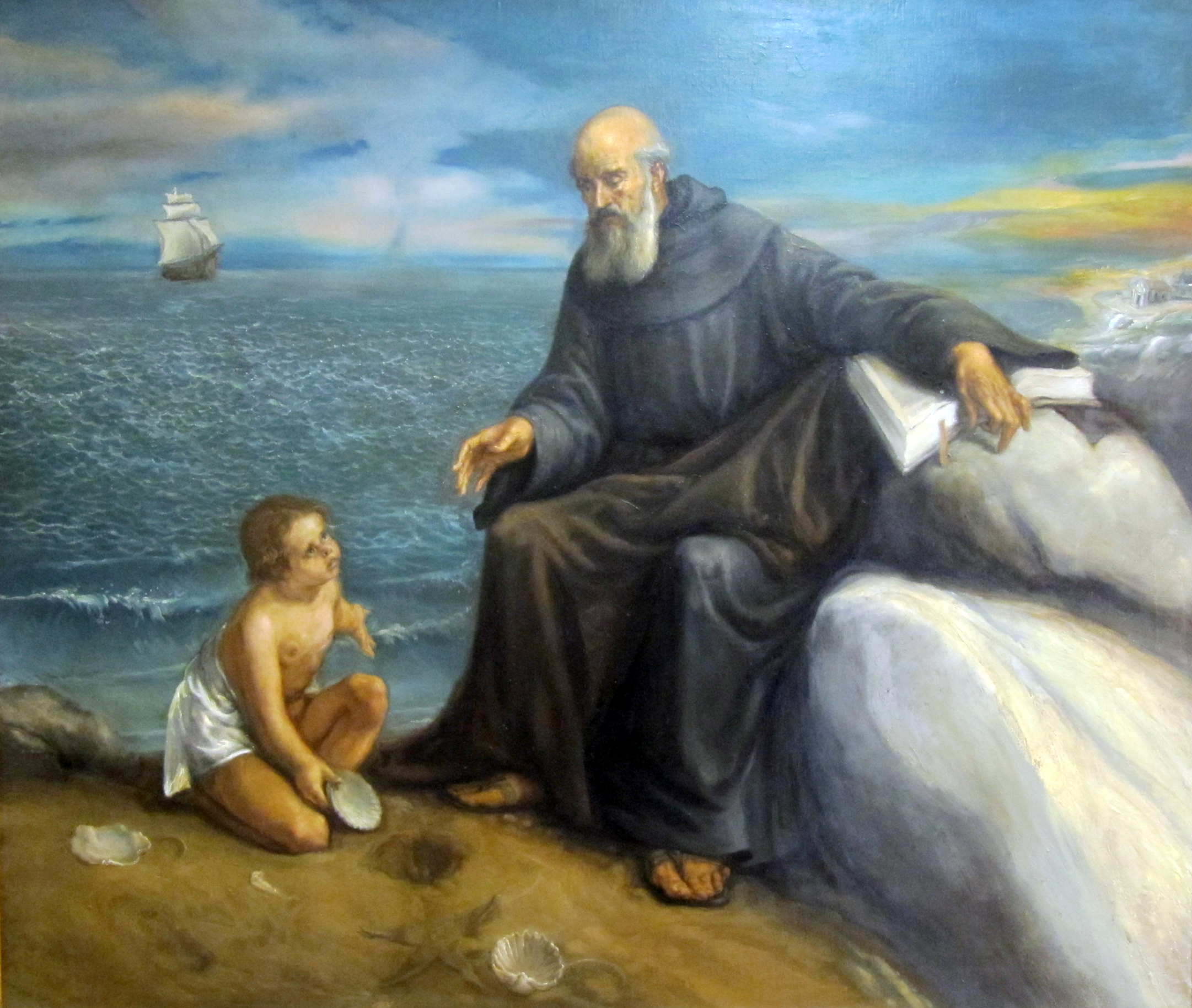 Saint Augustine and the child, by Juan Barba. Parish of Saint Rita. Madrid (Spain).