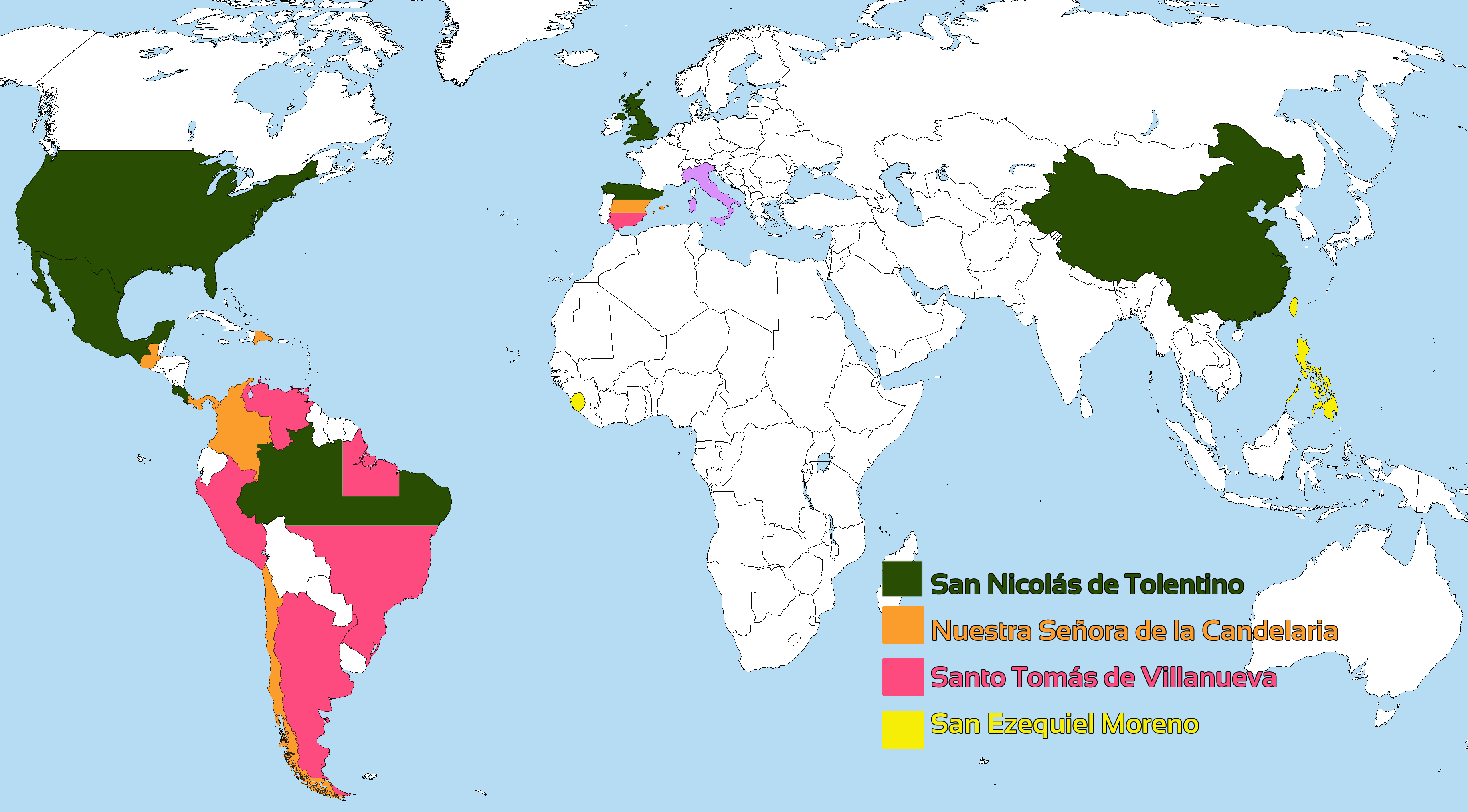 Presence of the Order of Augustinian Recollects in the world, and its component provinces.